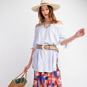 Easel Blue Off Shoulder Button Down Tunic S NWT